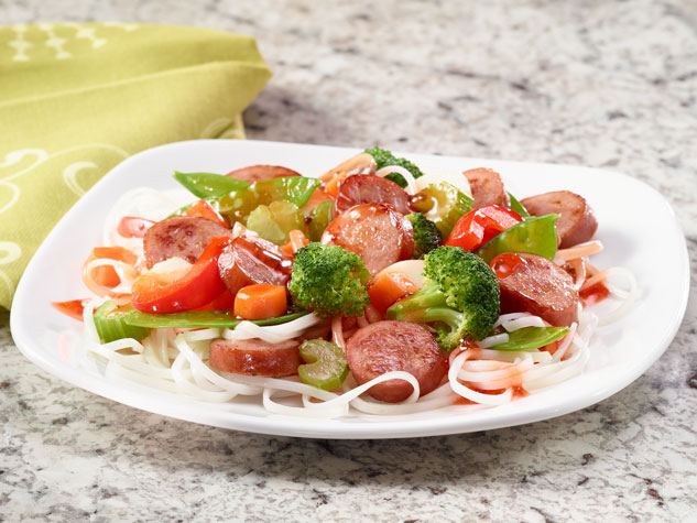 SWEET AND SOUR SMOKED SAUSAGE STIR FRY